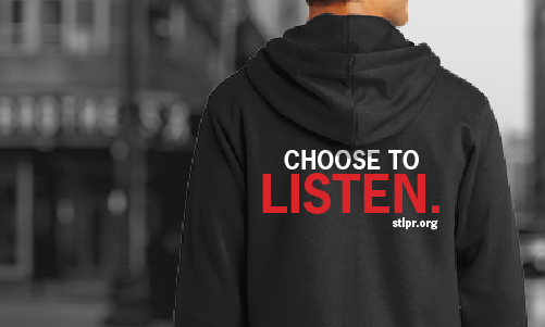 A man faces away. His hoodie reads 'Choose to Listen'