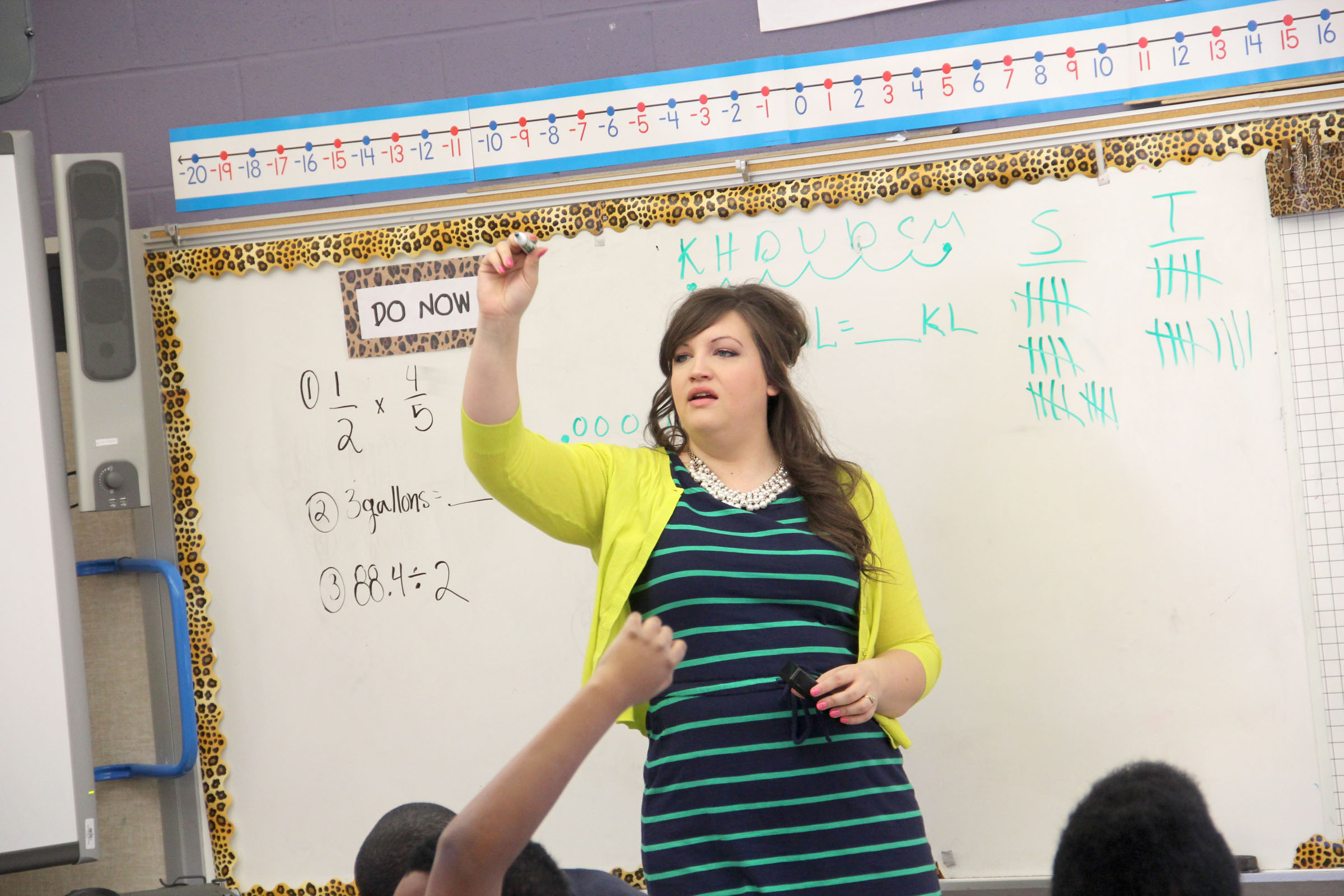 Sixth grade math teacher Melissa Schut prepares students for a classroom assignment.
